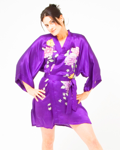 Thigh Length Silk Kimono with Hand Painted Design